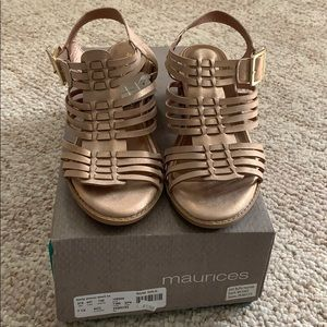 Maurices Rose Gold Sandals Brand New W/Tags & Box